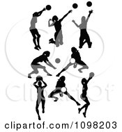 Clipart Black Silhouetted Female Volleyball Players Royalty Free Vector Illustration