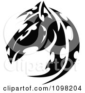 Clipart Black And White Tribal Horse Head In Profile Royalty Free Vector Illustration by Chromaco