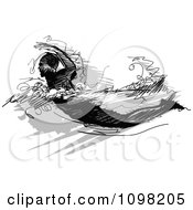 Clipart Grayscale Sketched Male Swimmer Royalty Free Vector Illustration