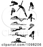 Clipart Black Silhouetted Female Swimmers Royalty Free Vector Illustration