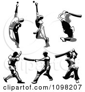 Black Silhouetted Male Cricket Players