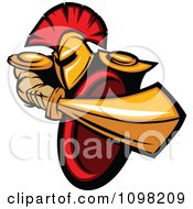 Clipart Strong Spartan Warrior Stabbing With His Gold Sword Royalty Free Vector Illustration