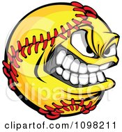 Clipart Tough Grinning Softball Mascot Royalty Free Vector Illustration