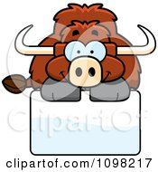 Clipart Happy Yak Over A Sign Royalty Free Vector Illustration