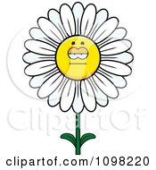 Clipart Bored White Daisy Flower Character Royalty Free Vector Illustration