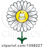 Clipart Happy Smiling White Daisy Flower Character Royalty Free Vector Illustration