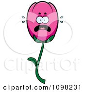 Clipart Scared Pink Tulip Flower Character Royalty Free Vector Illustration