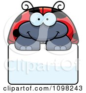 Clipart Happy Ladybug Over A Sign Royalty Free Vector Illustration by Cory Thoman