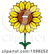 Clipart Drunk Sunflower Character Royalty Free Vector Illustration by Cory Thoman