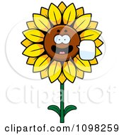 Clipart Talking Sunflower Character Royalty Free Vector Illustration