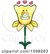 Clipart Daffodil Flower Character In Love Royalty Free Vector Illustration