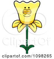 Clipart Sleeping Daffodil Flower Character Royalty Free Vector Illustration
