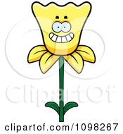Clipart Happy Smiling Daffodil Flower Character Royalty Free Vector Illustration