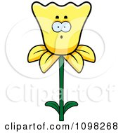 Clipart Surprised Daffodil Flower Character Royalty Free Vector Illustration