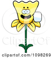 Clipart Talking Daffodil Flower Character Royalty Free Vector Illustration