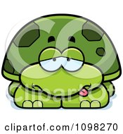 Clipart Sick Green Tortoise Turtle Royalty Free Vector Illustration
