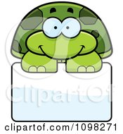 Clipart Happy Green Tortoise Turtle Over A Sign Royalty Free Vector Illustration