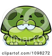 Clipart Depressed Green Tortoise Turtle Royalty Free Vector Illustration