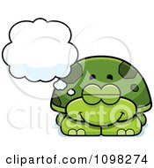 Clipart Dreaming Green Tortoise Turtle Royalty Free Vector Illustration