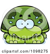 Clipart Scared Green Tortoise Turtle Royalty Free Vector Illustration