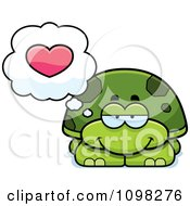 Clipart Green Tortoise Turtle In Love Royalty Free Vector Illustration