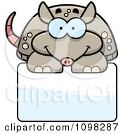 Clipart Happy Armadillo Over A Sign Royalty Free Vector Illustration by Cory Thoman