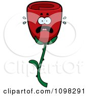 Clipart Scared Red Rose Flower Character Royalty Free Vector Illustration by Cory Thoman