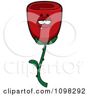 Clipart Drunk Red Rose Flower Character Royalty Free Vector Illustration by Cory Thoman