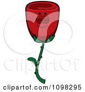Clipart Sleeping Red Rose Flower Character Royalty Free Vector Illustration