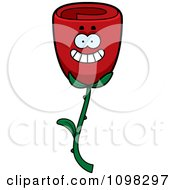 Clipart Happy Smiling Red Rose Flower Character Royalty Free Vector Illustration