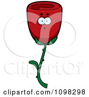 Clipart Surprised Red Rose Flower Character Royalty Free Vector Illustration by Cory Thoman