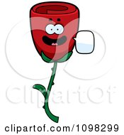 Clipart Talking Red Rose Flower Character Royalty Free Vector Illustration