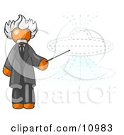 Orange Einstein Man Pointing A Stick At A Presentation Of A Flying Saucer Clipart Illustration