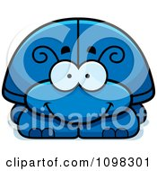 Clipart Happy Blue Beetle Royalty Free Vector Illustration by Cory Thoman