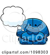 Clipart Dreaming Blue Beetle Royalty Free Vector Illustration