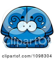 Clipart Scared Blue Beetle Royalty Free Vector Illustration