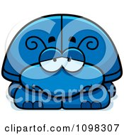 Clipart Depressed Blue Beetle Royalty Free Vector Illustration