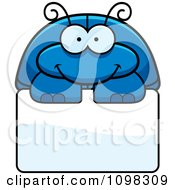 Clipart Happy Blue Beetle Over A Sign Royalty Free Vector Illustration by Cory Thoman
