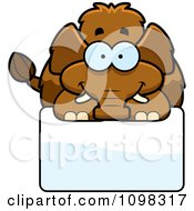 Clipart Happy Wooly Mammoth Over A Sign Royalty Free Vector Illustration