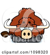 Clipart Bored Yak Royalty Free Vector Illustration by Cory Thoman