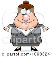 Clipart Chubby Caucasian Business Lady Royalty Free Vector Illustration