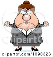 Clipart Angry Chubby Caucasian Business Lady Royalty Free Vector Illustration by Cory Thoman