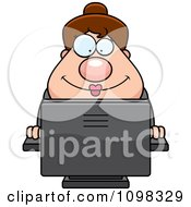 Clipart Happy Chubby Caucasian Business Lady Using A Computer Royalty Free Vector Illustration