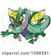 Clipart Flying Green And Purple Dragin Waving And Holding A Thumb Up Royalty Free Vector Illustration