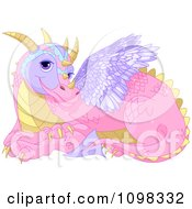 Cute Pink Fairy Tale Dragon With Purple Wings