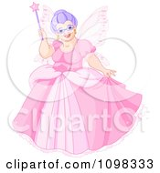 Clipart Happy Plump Fairy Godmother In A Pink Dress Holding Up Her Magic Wand Royalty Free Vector Illustration