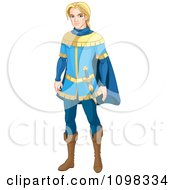 Clipart Handsome Blond Prince Charming In A Blue Uniform Royalty Free Vector Illustration