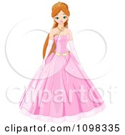 Clipart Beautiful Princess In A Pink Ball Gown Royalty Free Vector Illustration