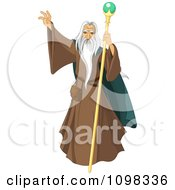 Clipart Male Wizard With A Long White Beard Holding Up His Hand Royalty Free Vector Illustration