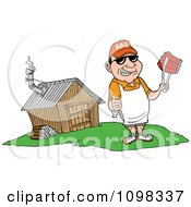 Clipart Happy White Chef Holding A Thumb Up And Ribs With Tongs By A Smoke House Royalty Free Vector Illustration